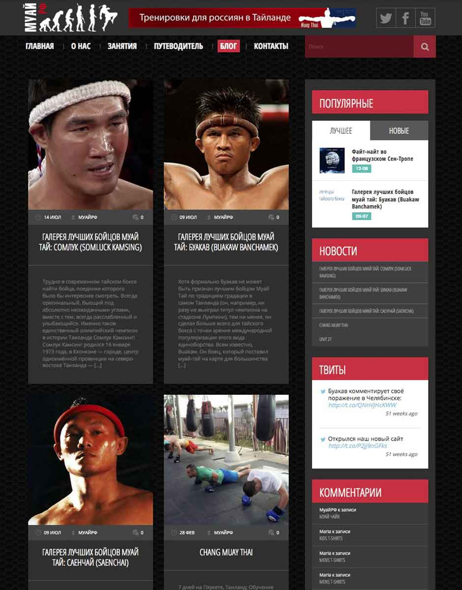 Раздел новостей в виде блога